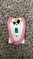 Vintage 1980s Pink Flamingo Ronnieand039s Ceramic Wall Switch Cover 1986 Miami