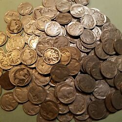 40 .05 1913-1938 Buffalo Nickel Partial Date Roll About Half Teens And Twenties