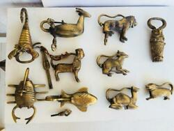 Pad Lock Screw Key 10 Pcs Different Animals Shape Old Brass Antique Handcrafted