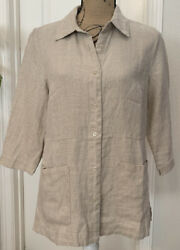 New Coldwater Creek 3/4 Sleeved 100 Linen Tan Topper - Size S
