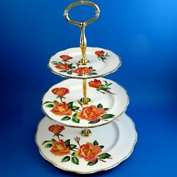Queen Anne Anniversary Rose 3 Tier Cake Plate Some Gold Wear
