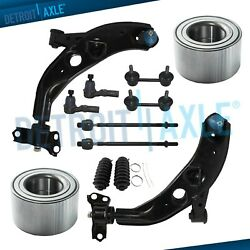 Front Lower Control Arms Tierods Sway Bar Wheel Bearing For 1998-2002 Mazda 626