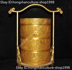China Dynasty Bronze 24k Gold Gilt Flower Grain Imperial Family Box Food Boxes