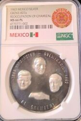 1963 Mexico Silver Grove 824a Recovery Of Chamizal Ngc Ms 66 Pl Top Pop