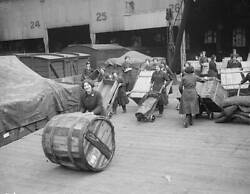 Old Photo Roll Out The Barrel 1917 Women War Workers Moving Crates And Barrels