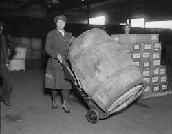 Old Photo Strong Woman 1917 A Female War Worker Pushing A Large Barrel