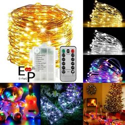 50 100 LEDs Battery Operated Mini LED Copper Wire String Fairy Lights W Remote