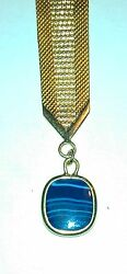 Antique Victorian Full Gold Pocket Fob Watch Chain Blue Agate