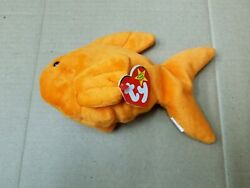 Ty Beanie Baby Goldie The Goldfish Fish Style 4023 With Pvc Pellets And Errors