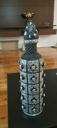 Home Decoration Black Glass Vase With Flowers 16 Inches ..