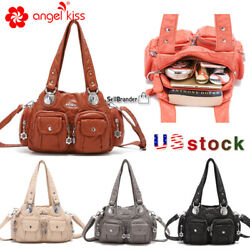 Angelkiss Brand Women's Washed Soft Leather Handbag Shoulder Bags Purse Gift
