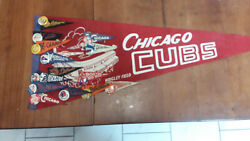 Chicago Cubs Baseball Pennant + Pennant./button Collection Of Early 1950 Teams
