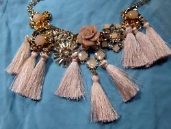Betsey Johnson Inspired Gold Tone Floral Tassel Statement Necklace