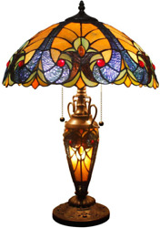 Styled Lamp 3 Light W16 H24 Inch Yellow Liaison Stained Glass Table Lamp