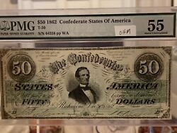 1862 50 T-50 Confederate States Of America Note Currency Pmg 55
