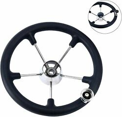 5 Spoke 15 Boat Stainless Destroyer Steering Wheel With Black Foam Grip And Knob