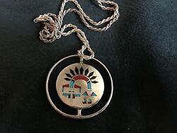 Native American Zuni F. L. Natachu Sterling Inlaid Spinner Pendant And Chain