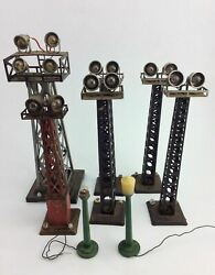 6 Vintage Toy Train Light Light Towers And 2 Lamp Posts Railroad Marx