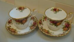 Royal Albert Porcelain Old Country Roses 2 Tea Cups With 2 Saucers, England