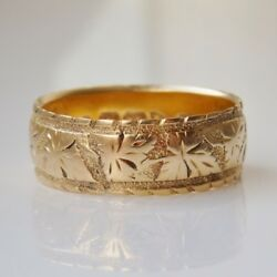 Fine Antique Victorian 18ct Gold Engraved Wedding Band Ring C1900 Uk Size 'o'