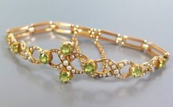 Fine Antique Edwardian 15ct Gold Peridot And Pearl Bracelet C1905 In Fitted Case
