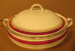 Aynsley Bone China Wendover Maroon Covered Casserole Dish/made In England/as Is