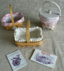 Longaberger Horizon Of Hope 3 Baskets W Fabric And Protector Liners Vguc
