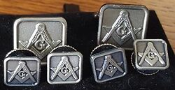 Antique Silver Full Cuff Links And Button Studs Set Square And Compass Masonic Mason