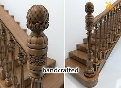 Unfinished Antique Banister Stair Wood Newel Post Perfect Carving