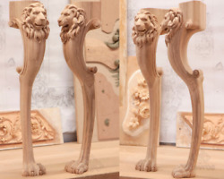 Table Legs Lion Head And Paw Set Of 4 Unfinished Wood Carving From Oak