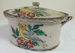 Antique Redware Pottery Tureen W/cover Overall White Slip Polychrome Birds
