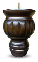 6 Turned Round Buns Walnut Tapered Furniture Wood Legs 5/16 Bolt - Set Of 4