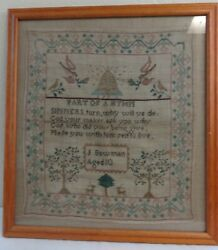 Antique Colorful Needlework Sampler By J. Bowman Age 10 Beehive Motif Birds