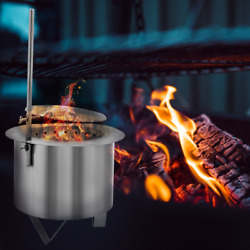 Bbq Grill Pit Patio Burner Double Fire Smoke-less Stove Barbecue Wood-burning