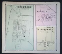 1873 Rare Hand Color Poster Map Woodsboro Maryland Frederick County Creagerstown