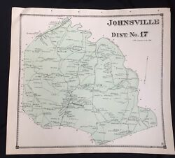 1873 Rare Hand Color Poster Map Johnsville Maryland Frederick County Ladiesburg