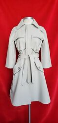 J Mendel Light Gray Canvas Belted Trench Coat Jacket Size 4 Retail 4500