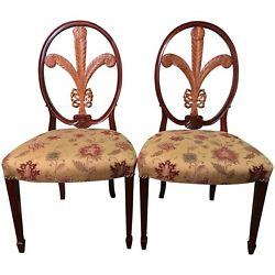 Pair Of Mahogany And Maple Side Chairs With Of Wales Feather Backs By Gerte