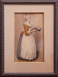 1800s Watercolor The Chocolate Girl F.a Schlegel Andndash After Jean-andeacutetienne Liotard