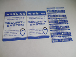 2 Home Security Alarm System Yard Signs And 12 Window Stickers - Stock 719