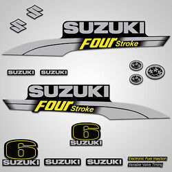 Outboard Engine Graphics Kit Sticker Decal For Suzuki 6 Hp Yellow