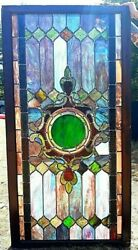 Antique Restored Stained Glass Window Architectural Salvage Farmhouse Decor