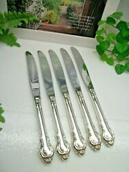 5 International Holmes And Edwards Deep Silver Fashion Dinner Knives 1962