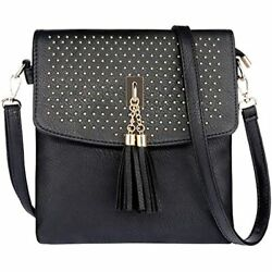 Tassel Crossbody Bag Purse With Rivet Shoulder For Women Black Handbags $32.97