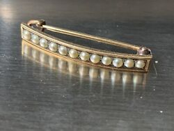 Victorian Vintage 14K Yellow Gold White Sea Pearl Cluster Brooch Pin 1.5 gr Note