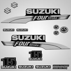 Outboard Engine Graphics Kit Sticker Decal For Suzuki 15 Hp Silver