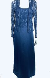 AFTER DARK Navy Blue Long Evening Women Dress Set. Size 8. New With Tags $23.99