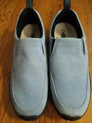 Gander Mountain Mtn Slip On Mules Blue Suede Leather Shoes Womens 6 Youth 4m