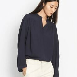 E208 Nwt Vince Shirred Full Sleeve Women Silk Blouse Size Xs M In Navy 345