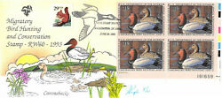 Rw60 1993 Duck Stamp Pugh Hand Painted Plate Block Of 4 On 10 [833062]